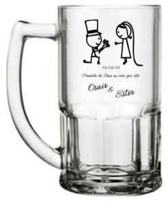 Canecas de vidro bristal 340 ml Osair e Ester